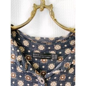 Zara 90s-style navy collared tie waist midi dress